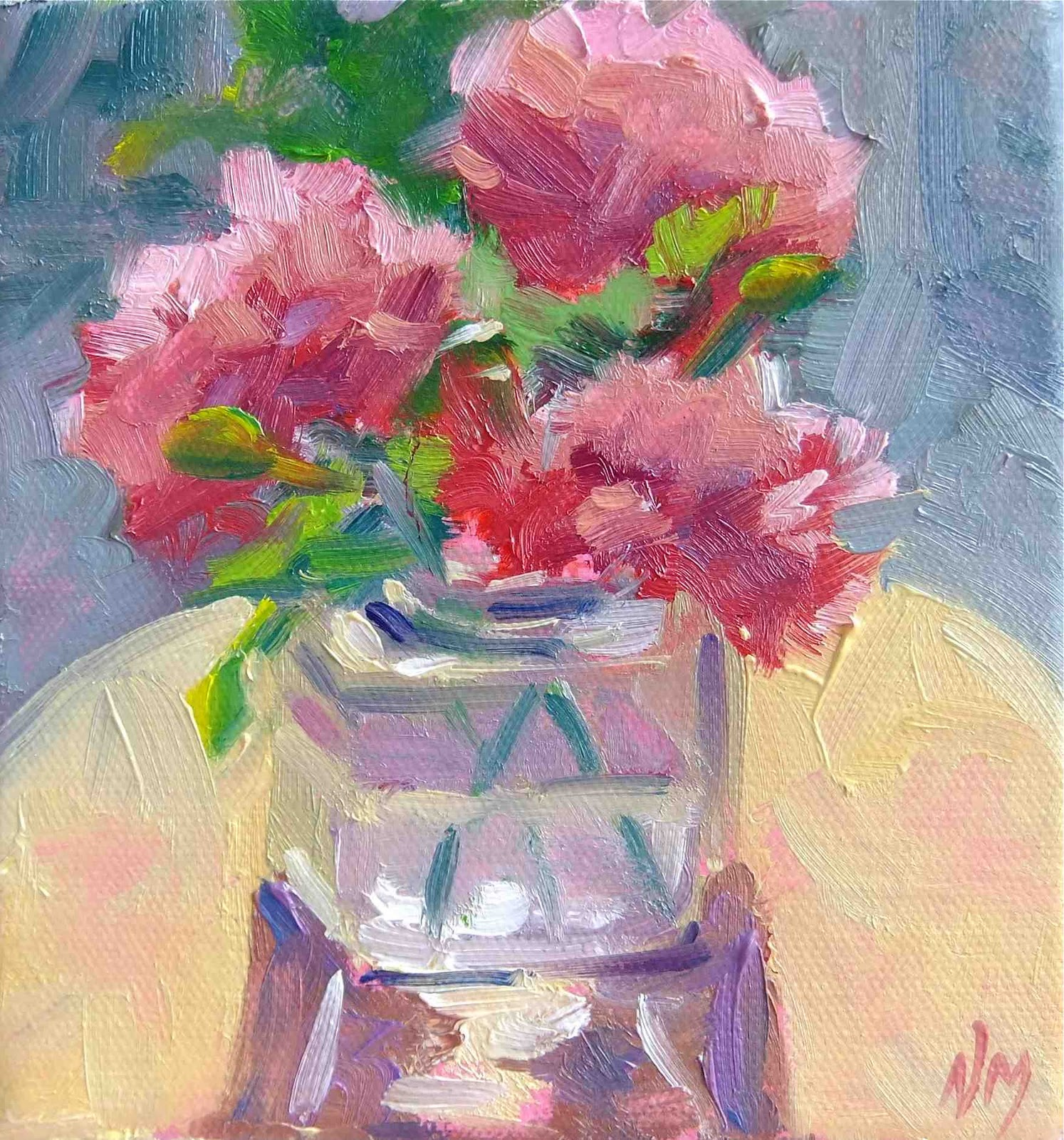waltzing carnations original fine art by Nora MacPhail