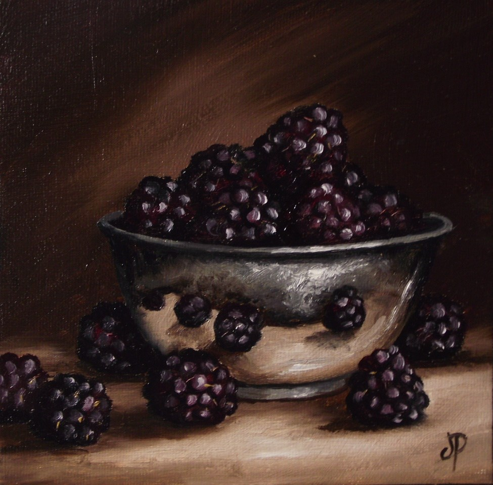 """Blackberries in silver bowl"" original fine art by Jane Palmer"