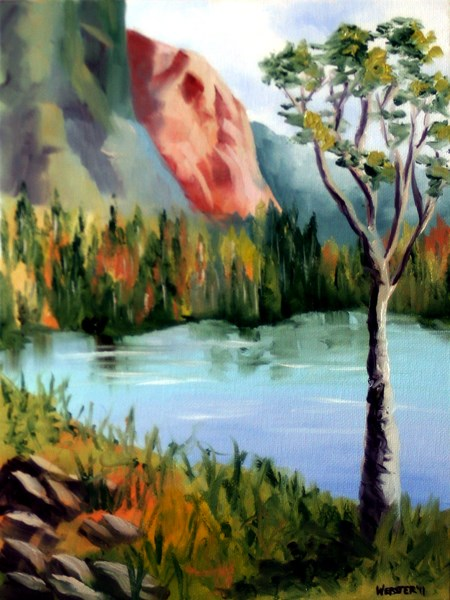 """Mark Adam Webster - Mountain Lake Landscape Oil Painting 3-12-11"" original fine art by Mark Webster"
