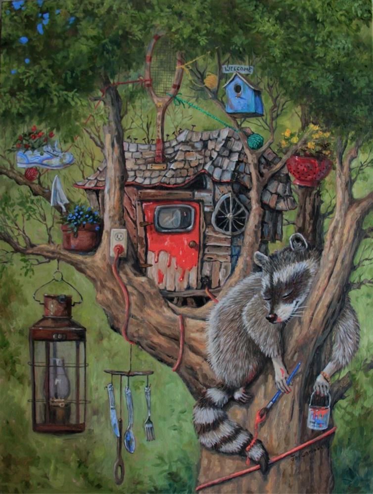 """""""Little Raccoon's Fixer Upper"""" original fine art by Joy Campbell"""