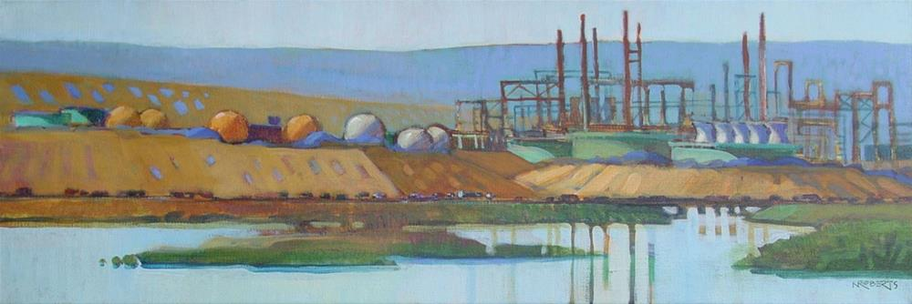 """Refineries"" original fine art by Nancy Roberts"