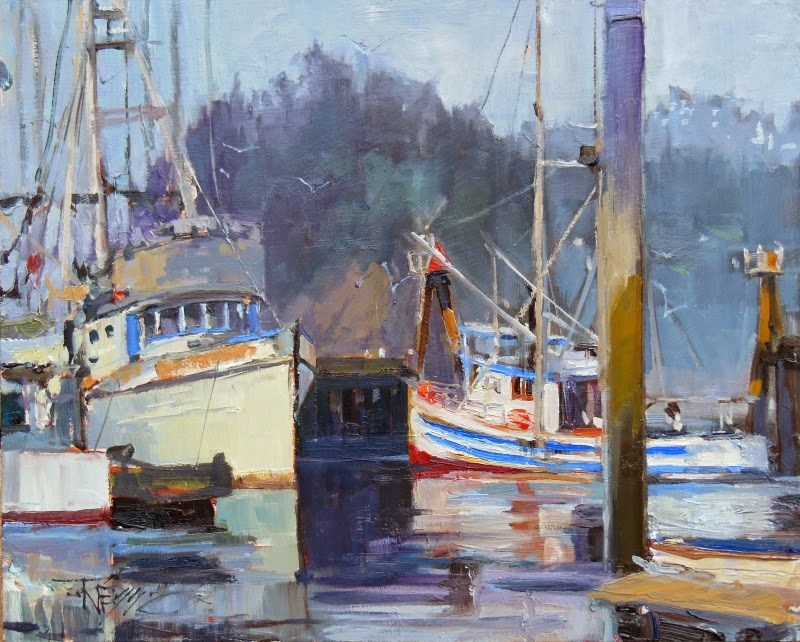 """Quilute Marina  marine, landscape, oil painting by Robin Weiss"" original fine art by Robin Weiss"