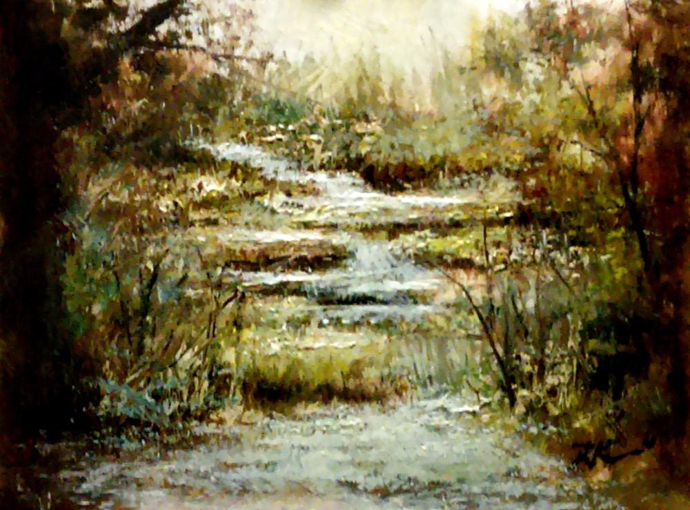 """Cascading Falls"" original fine art by Bob Kimball"