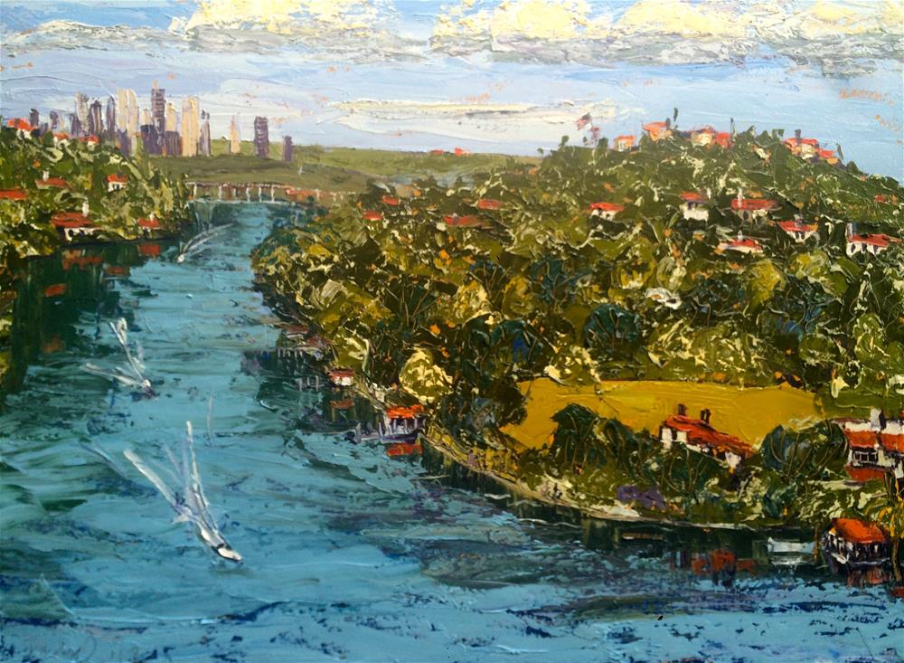 """Boats on Lake Austin (4th of July)"" original fine art by Darryl Freeman"