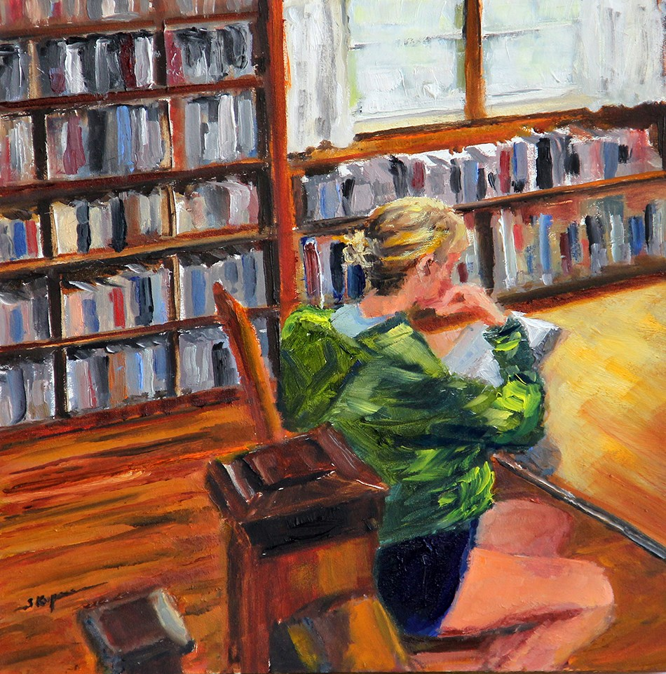 """Shhh!  It's the Library!"" original fine art by Shelley Koopmann"