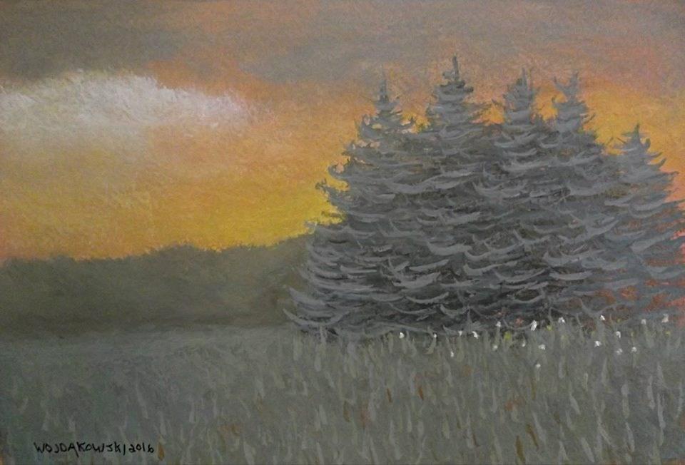 """Evergreen Sunset"" original fine art by Joe Wojdakowski"