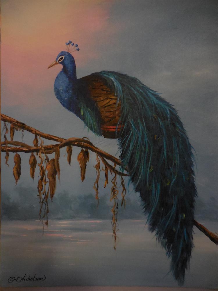 """Roosting Peacock"" original fine art by Terri Nicholson"