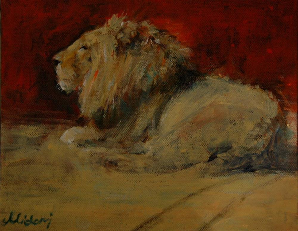 """Meditation in Al Ain Zoo"" original fine art by Midori Yoshino"