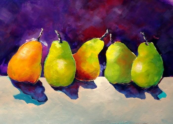"""""""Dancing Pears"""" original fine art by Laurie Mueller"""