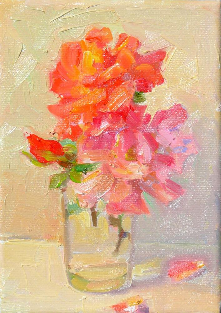 """Studio Roses,still life,oil on canvas,7x5,price$100"" original fine art by Joy Olney"