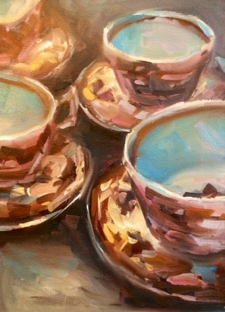 """TEA CUPS"" original fine art by Doug Carter"