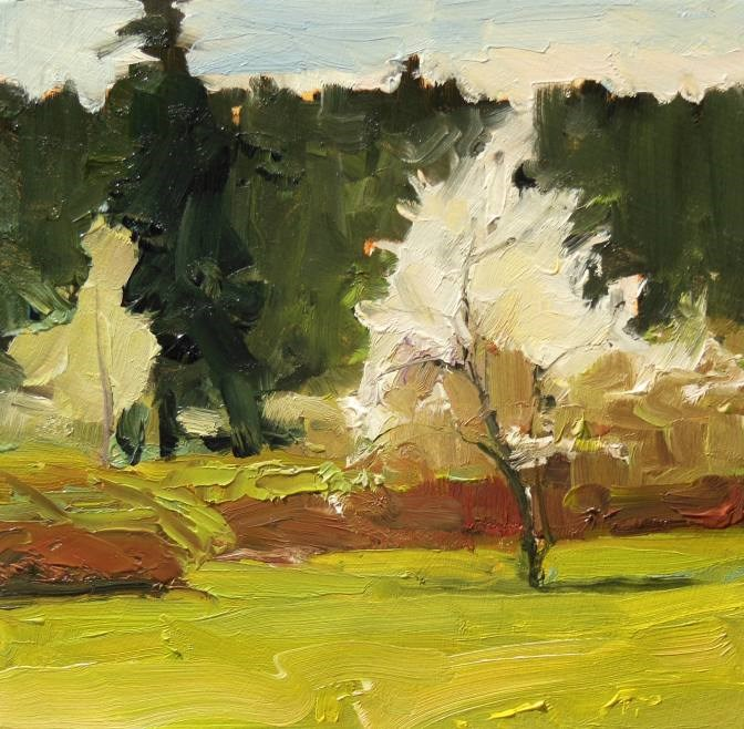 """Spring Apple  plein air landscape painting by Robin Weiss"" original fine art by Robin Weiss"
