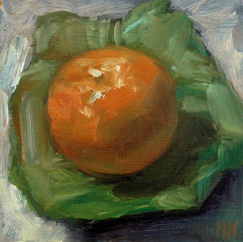 """An Orange on Green Paper"" original fine art by Heather Nibert"