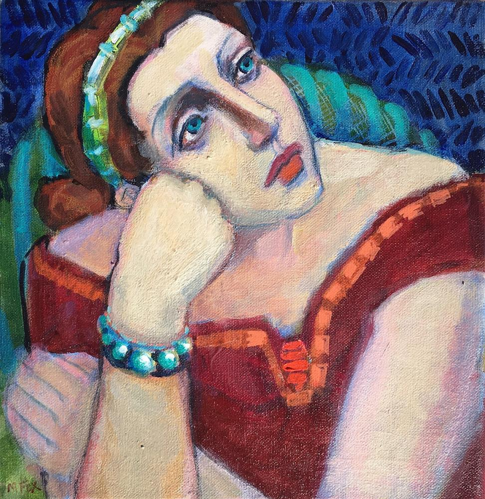 """Dreamer, figurative painting of woman musing, female figuration, pensive girl, contemporary figure p"" original fine art by Marie Fox"