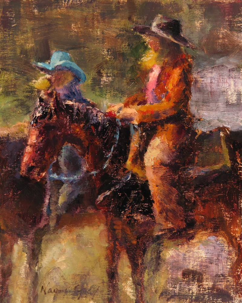 """Riding Windy and Brown"" original fine art by Naomi Gray"