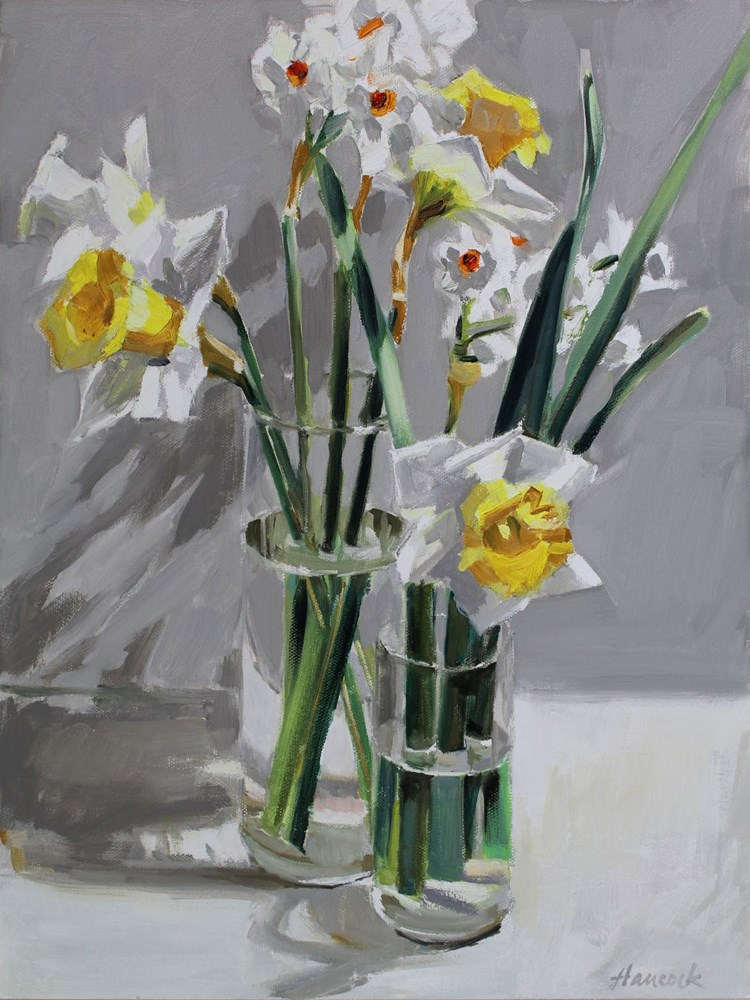 """Daffodils Two Vases"" original fine art by Gretchen Hancock"
