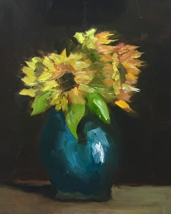 """Sunflowers"" original fine art by Minnie Bhupathi"