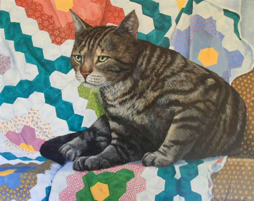 """Kitty on a Quilt"" original fine art by Joy Campbell"
