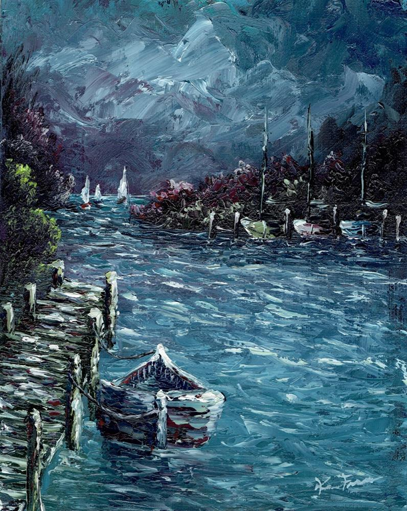 """Evening Harbor"" original fine art by Ken Fraser"