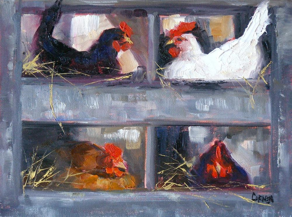 """Ain't Nobody Here But Us Chickens, 6x8 Oil on Canvas Board"" original fine art by Carmen Beecher"