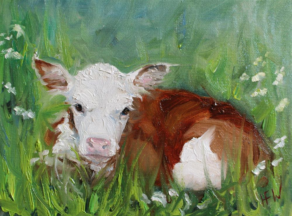 """Sweet Little Hereford Calf"" original fine art by H.F. Wallen"