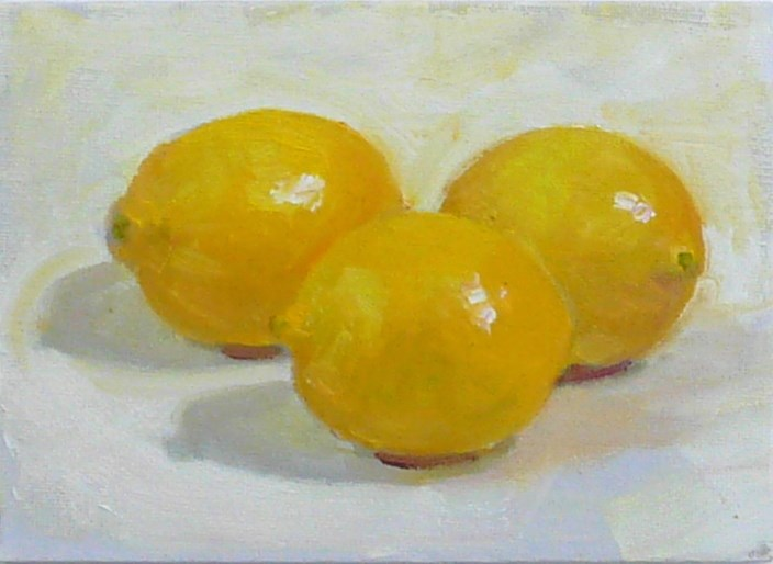 """Three Lemons,still life,oil on canvas,5x7,price$200"" original fine art by Joy Olney"