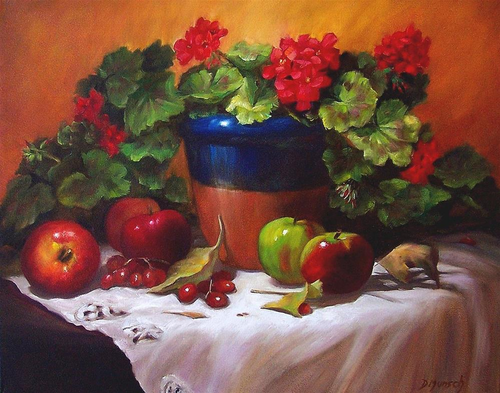 """Geraniums and Apples"" original fine art by Donna Munsch"