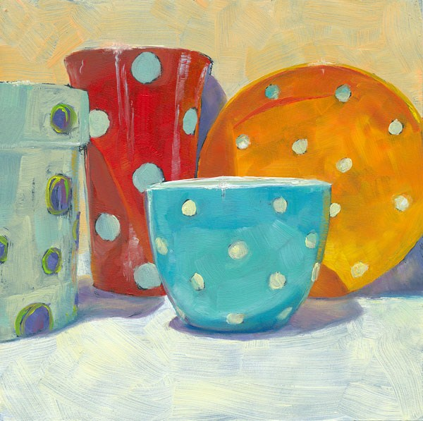 """Dots and Spots and Flower Pots"" original fine art by Brenda Ferguson"