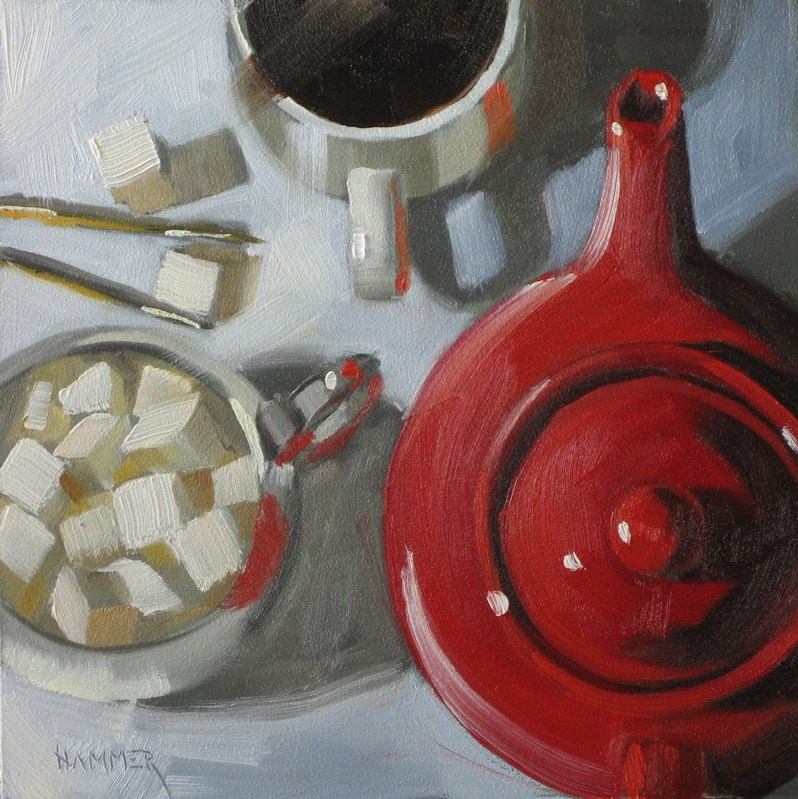 """One lump or two?  6x6 oil"" original fine art by Claudia Hammer"