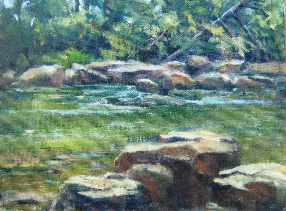 """River Rocks, Cowpasture River, Virginia"" original fine art by Connie Snipes"