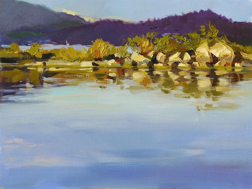 """Lac du bourge-yellow stones"" original fine art by Beata Musial-Tomaszewska"