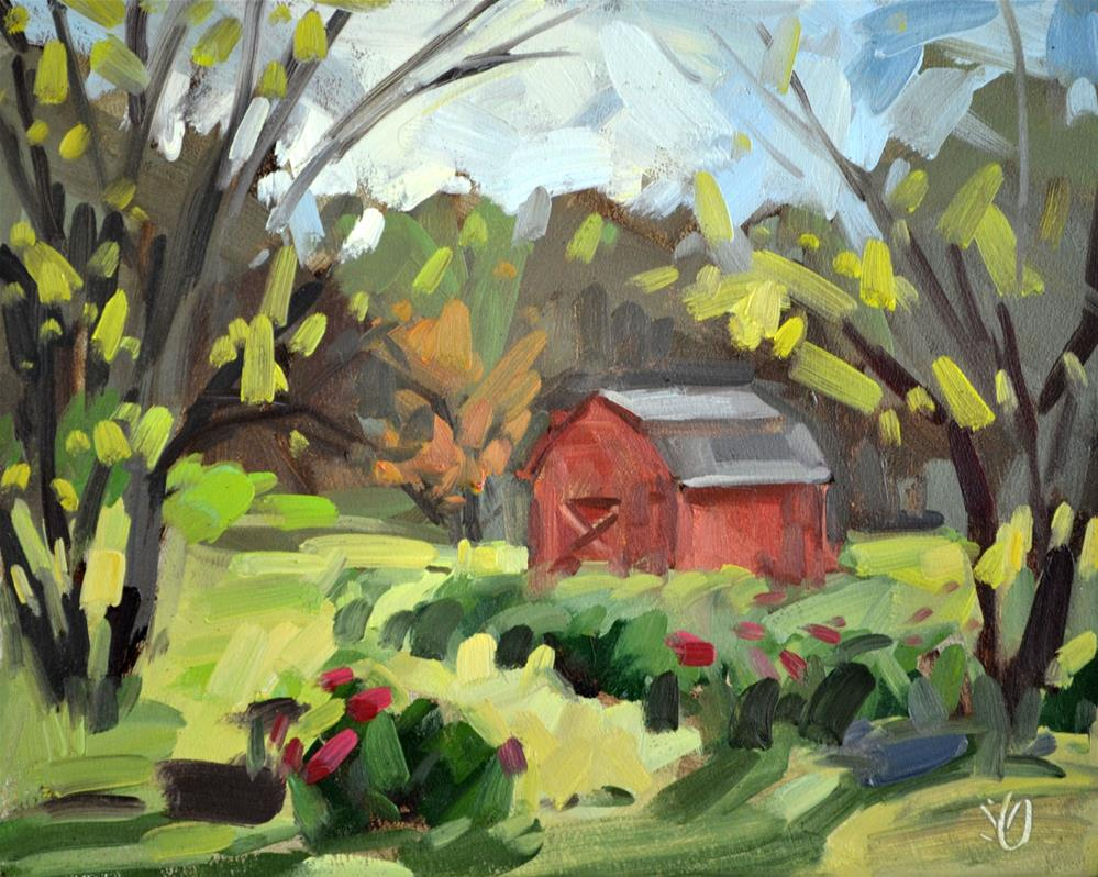 """Red Shed"" original fine art by Jessica Green"