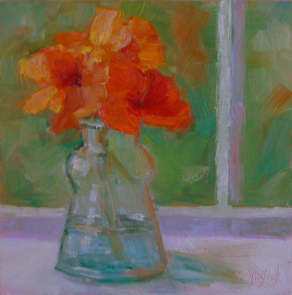 """orange flowers"" original fine art by Carol Josefiak"