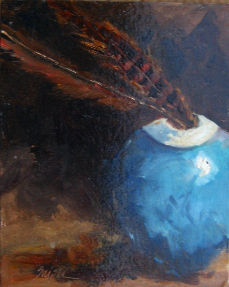Still Life with Feathers original fine art by Connie Snipes