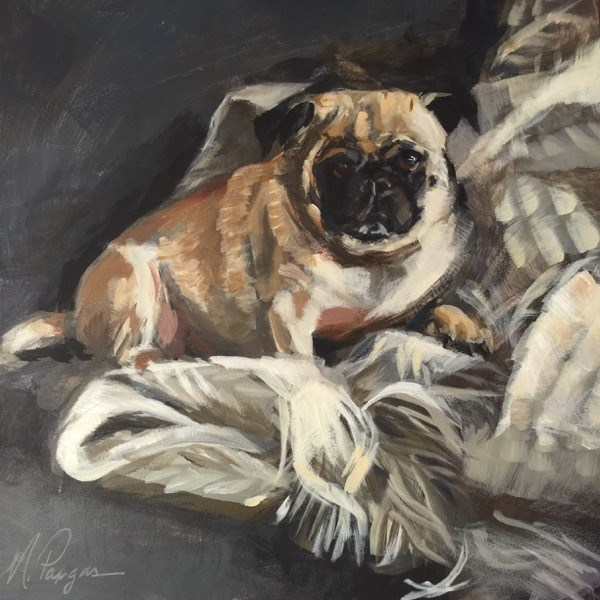"""Pug Nest"" original fine art by Mary Pargas"