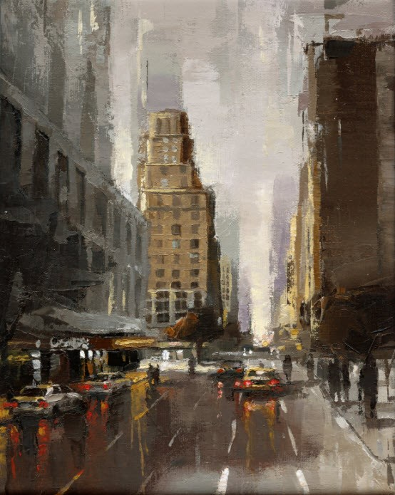 """Broadway No.2"" original fine art by Victor Bauer"