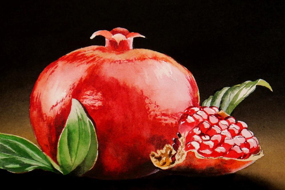 """Pomegranate"" original fine art by Jacqueline Gnott, TWSA, WHS"