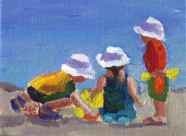 """928 Beach kids, 2.5x3.5, oil on board"" original fine art by Darlene Young"