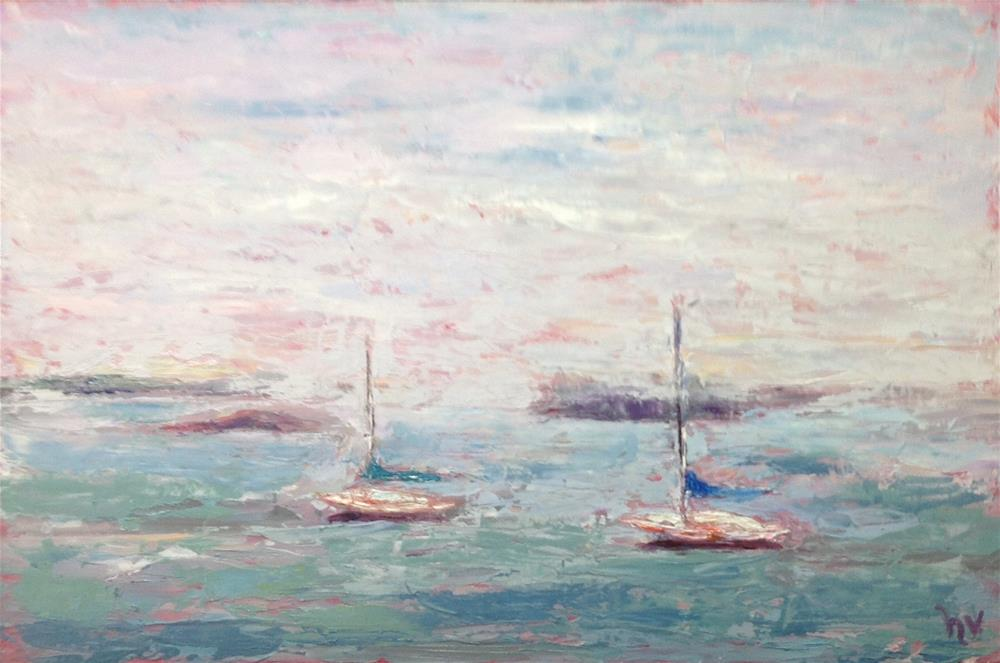 """Lubec-Two Boats in Fog"" original fine art by Helen Viebrock Hamel"