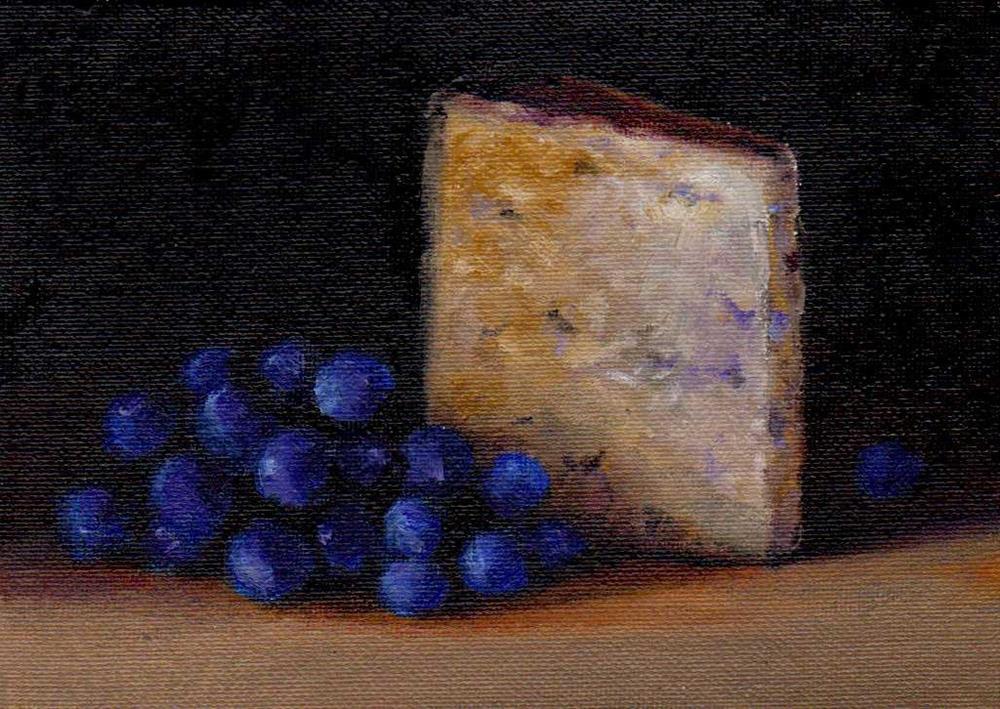 """cheese and grape"" original fine art by V. DeBak"