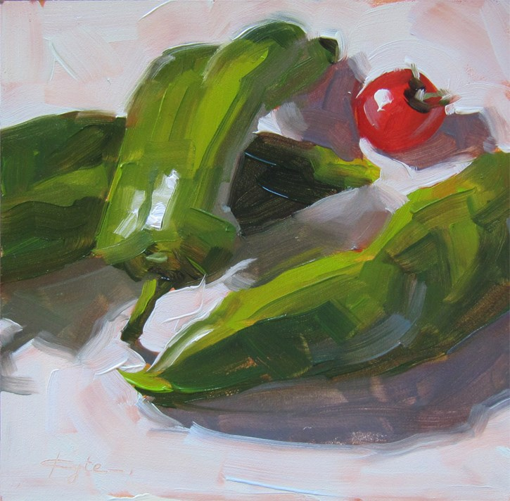 """Cherry Tomato and Peppers"" original fine art by Katia Kyte"