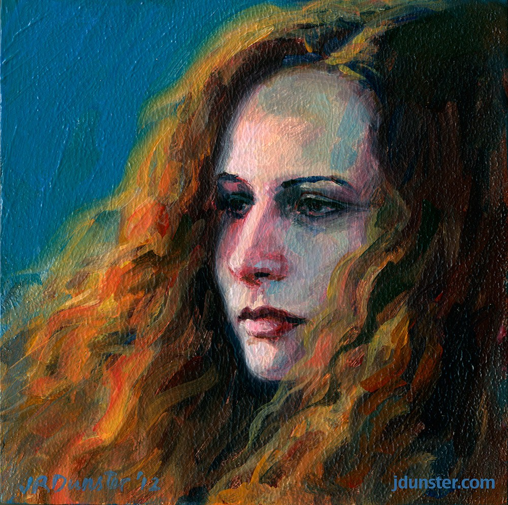 """Flowing Hair"" original fine art by J. Dunster"