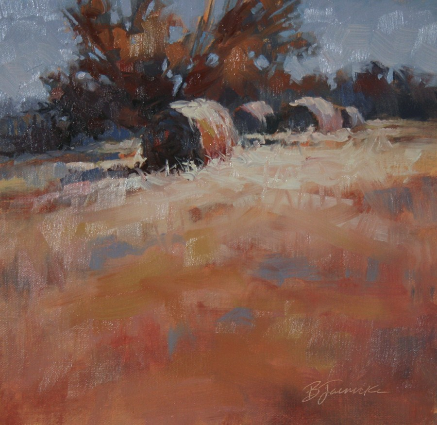 """Hay Bales on the Hill"" original fine art by Barbara Jaenicke"