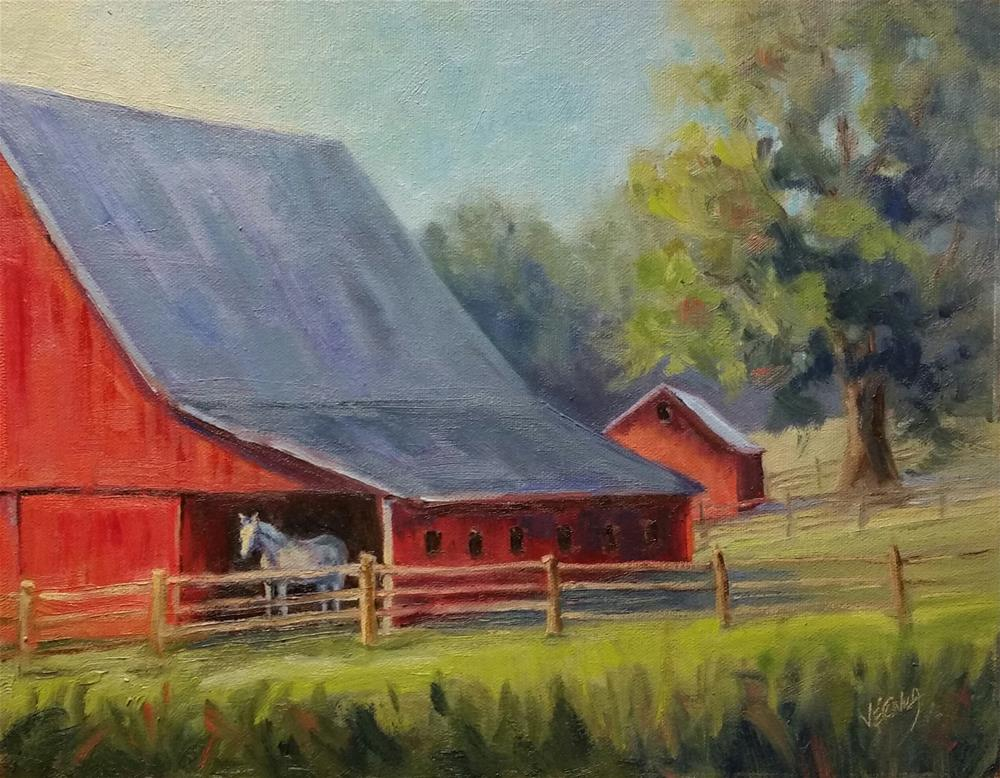 """90 degrees in the shade-plein air"" original fine art by Veronica Brown"