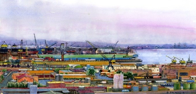 """Watercolor: Nassco Shipyard (& exporting your google data into a new reader)"" original fine art by Belinda Del Pesco"