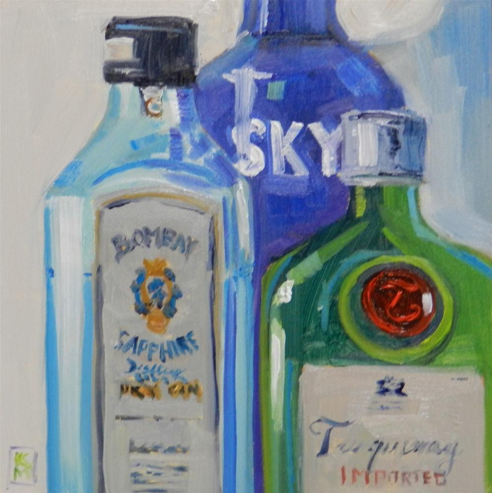 """Three Kings Of Cocktails, 6x6 Inch Original Oil Painting by Kelley MacDonald"" original fine art by Kelley MacDonald"