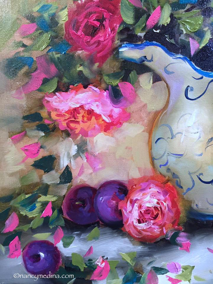 """Purple Plums and Peonies and a Tennessee Workshop - Nancy Medina Art"" original fine art by Nancy Medina"