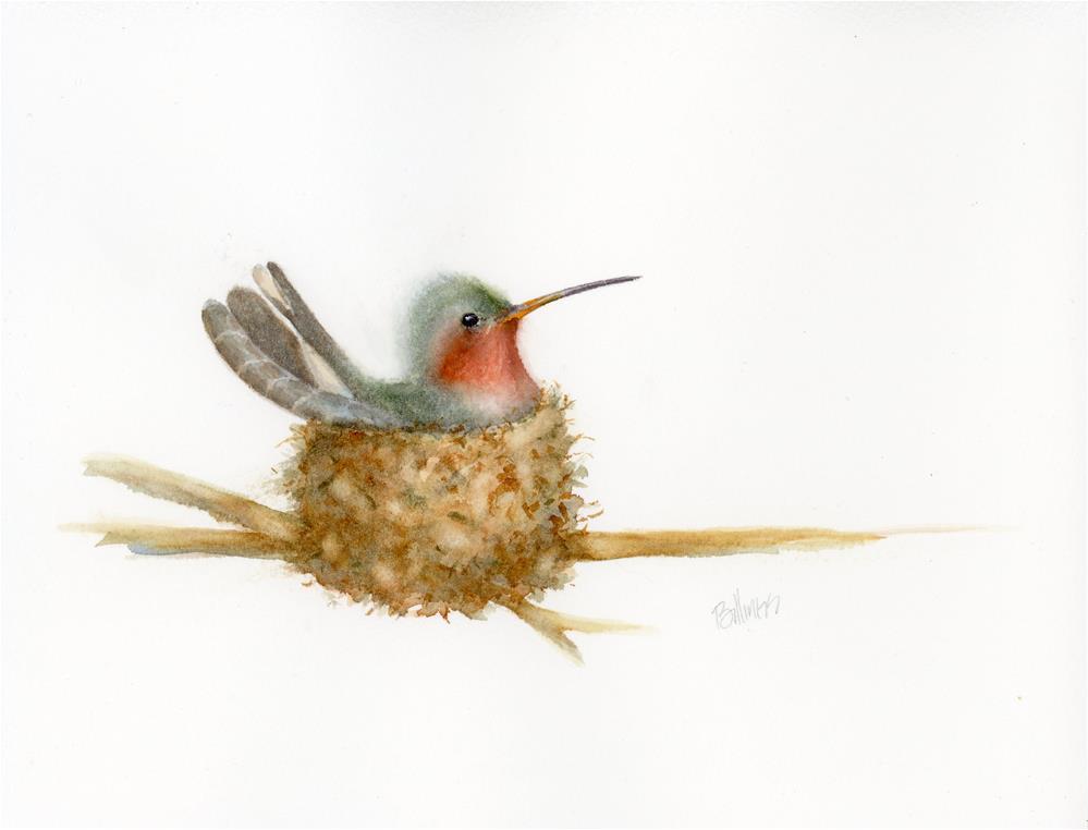 """""""Hummingbird on Nest Study II"""" original fine art by Susanne Billings"""