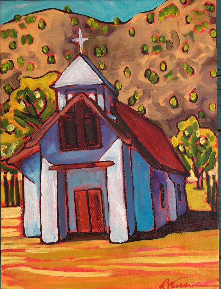 """church in Pilar (small)"" original fine art by Robyn Wellman"