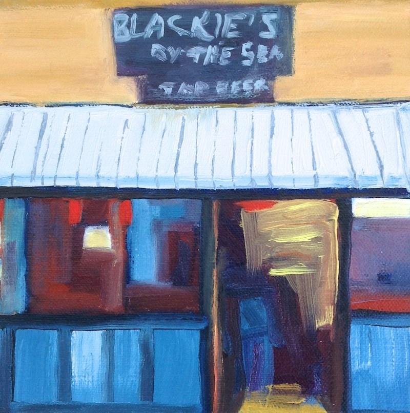 """Blackie's By The Sea"" original fine art by Janet Bludau"